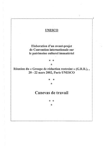 Canevas de travail » préparé par Mohammed Bedjaoui - Unesco