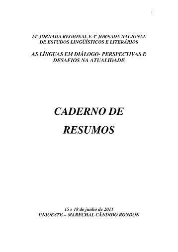 CADERNO DE RESUMOS - Unioeste