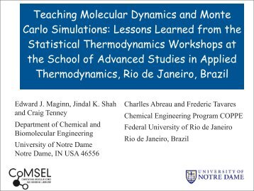 Lessons Learned From the Thermodynamics, Rio De ... - CACHE