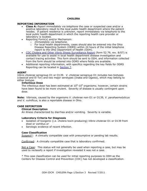 CHOLERA REPORTING INFORMATION • Class A - Ohio