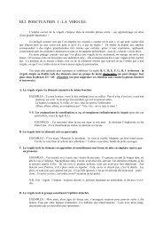 III.2. PONCTUATION 1 : LA VIRGULE. - Collège Saint-Hadelin