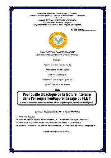 N° de série - Bibliothèque Centrale Université de Ouargla