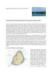 journal de bord de la 12ème étape - Le Tour du monde du Taranis