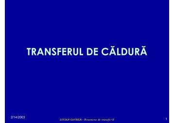 TRANSFERUL DE CĂLDURĂ - Cadre Didactice