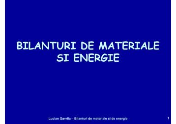 BILANTURI DE MATERIALE SI ENERGIE - Cadre Didactice