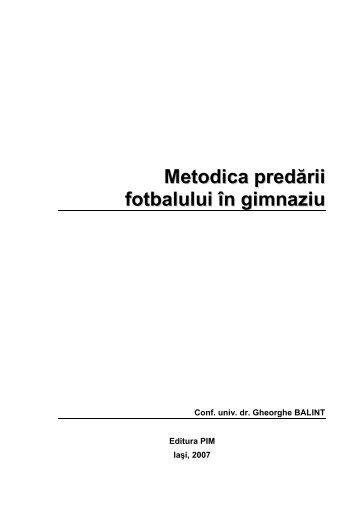 Metodica predării fotbalului în gimnaziu - Cadre Didactice