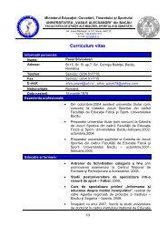 Curricullum vitae - Cadre Didactice - Universitatea
