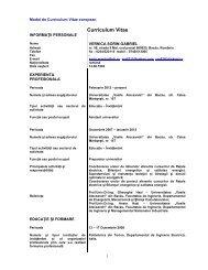 Curriculum Vitae - Cadre Didactice - Universitatea