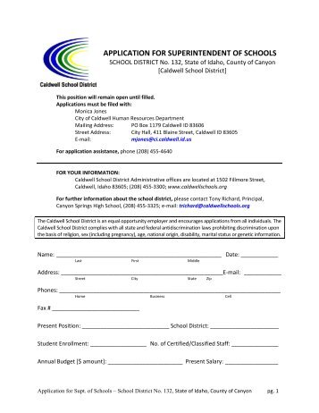 PDF application - Caldwell School District