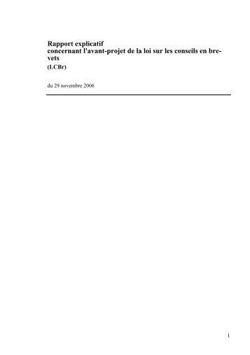 Rapport explicatif concernant l'avant-projet de la loi sur les conseils en