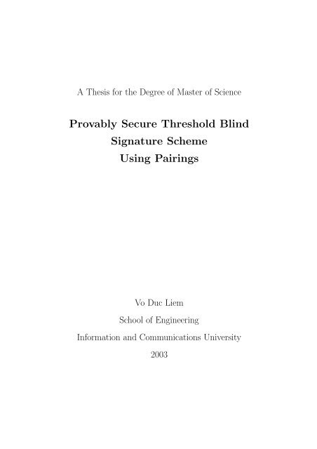 A Thesis For The Degree Of Master Of