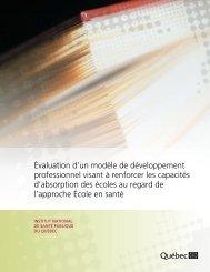 Évaluation d'un modèle de développement professionnel visant à ...