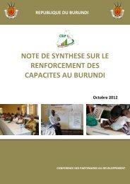 note de synthese sur le renforcement des capacites au burundi