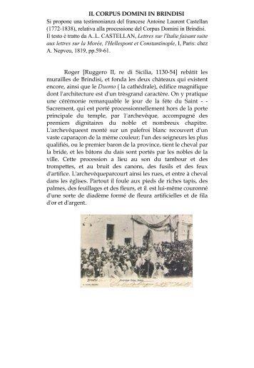 IL CORPUS DOMINI IN BRINDISI Si propone una testimonianza del ...