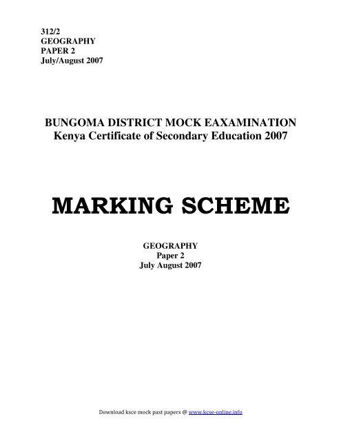 MARKING SCHEME - kcse past papers