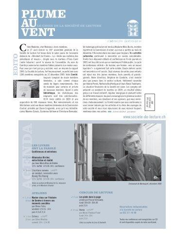 Edition de mai 2010 (N°343) - Societe de Lecture Geneve