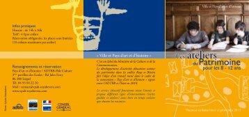 Télécharger la brochure «les ateliers du Patrimoine