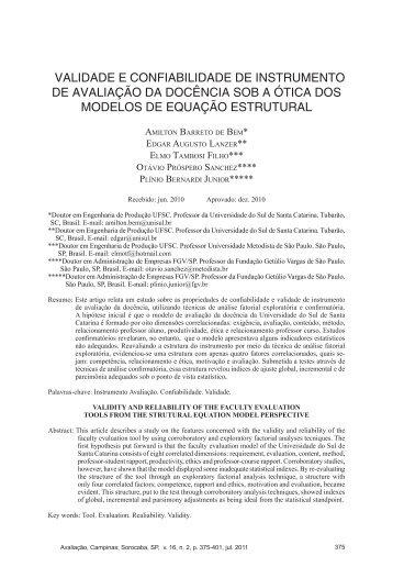 validade e confiabilidade de instrumento de avaliação da ... - Educ