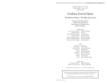 Castleton Festival Opera - Cal Performances