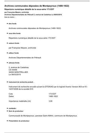 Inventaire complet (pdf) - Archives départementales de l'Hérault