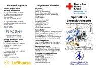 Spezialkurs Intensivtransport - Universitätsklinikum Gießen und ...