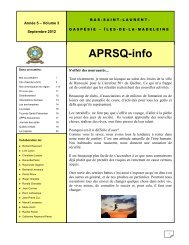 Bulletin APRSQ-01 de septembre 2012 - aprsq - accueil