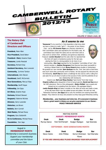 Bulletin for 8th August Issue 6 - Rotary Club of Camberwell