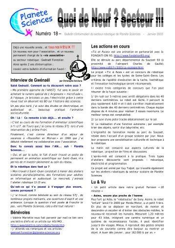 Quoi de neuf secteur n°18 janvier 2003 - Planète Sciences