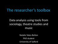 The researcher's toolbox: Data analysis using tools from ... - RCN