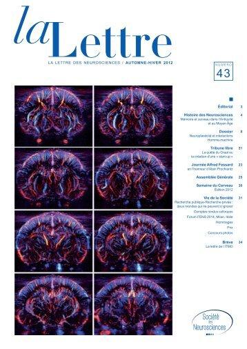 La Lettre des NeuroscieNces / AUTOMNE-HIVER 2012 Éditorial ...