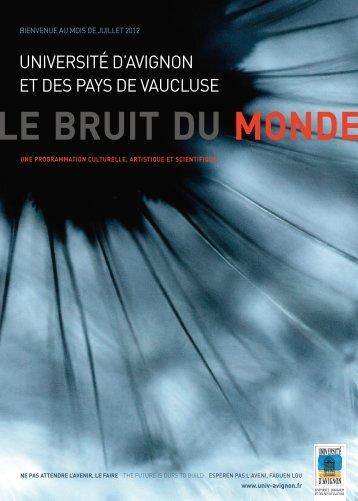 Programme du mois de Juillet 2012 à l - Université d'Avignon et des ...