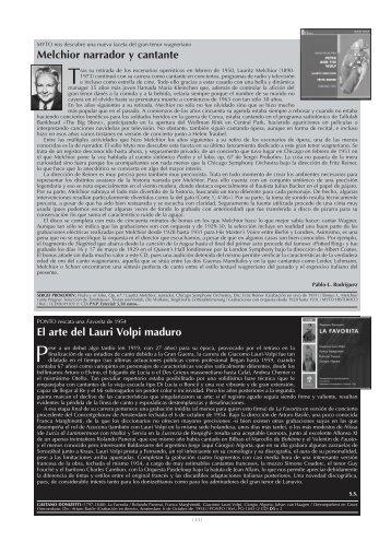 Melchior narrador y cantante El arte del Lauri Volpi maduro