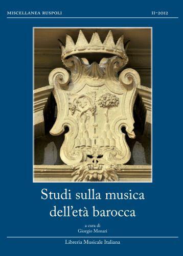 Studi sulla musica dell'età barocca - Campus Virtual de la ...