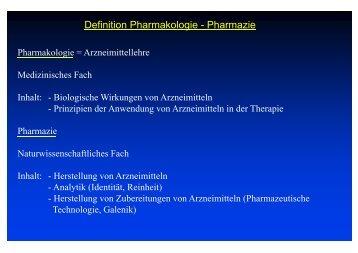 Definition Pharmakologie - Pharmazie