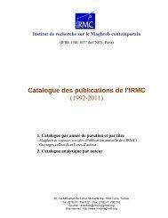 Catalogue - Institut de Recherche sur le Maghreb Contemporain