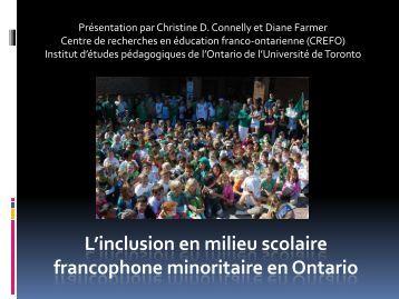 L'inclusion en milieu scolaire francophone minoritaire en Ontario