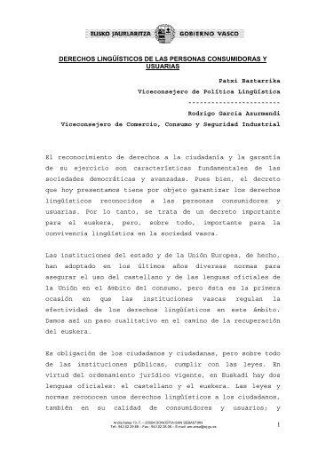 Derechos lingüísticos de las personas consumidoras ... - Diario Vasco