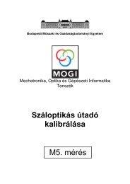 Száloptikás útadó kalibrálása M5. mérés - Budapesti Műszaki és ...