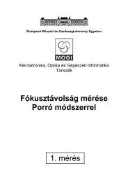 Fókusztávolság mérése Porró módszerrel 1. mérés - Budapesti ...