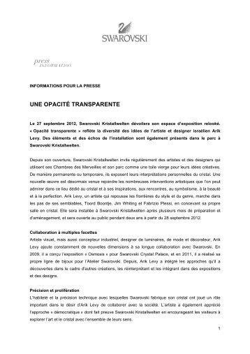UNE OPACITÉ TRANSPARENTE - Swarovski