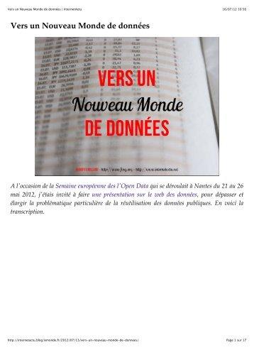 Vers un Nouveau Monde de données | InternetActu - Pierre Chainais