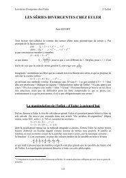Les séries divergentes chez Euler
