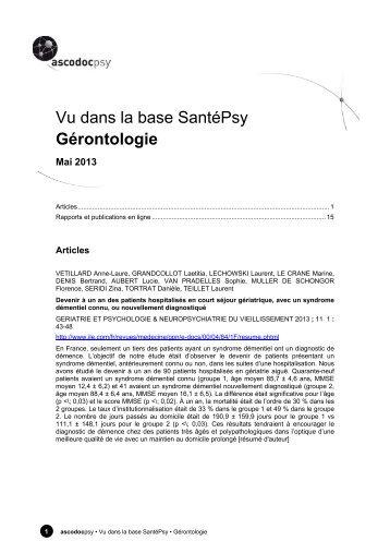 Gérontologie - Ascodocpsy