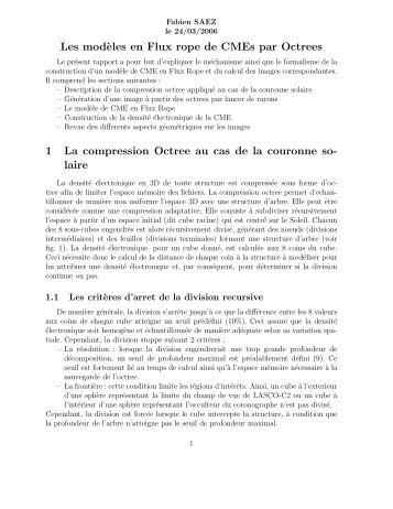la modélisation volumique des CME - IUT d'Arles