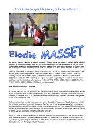 Après une longue blessure, le beau retour d'Elodie MASSET