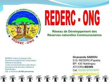 Contribution de REDERC-ONG pour atteindre les objectifs du ...