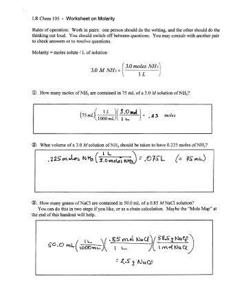 Molarity Worksheet Key