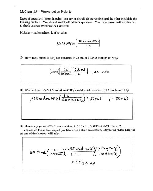 Molarity Worksheet Answer Key Chemistry - Nidecmege