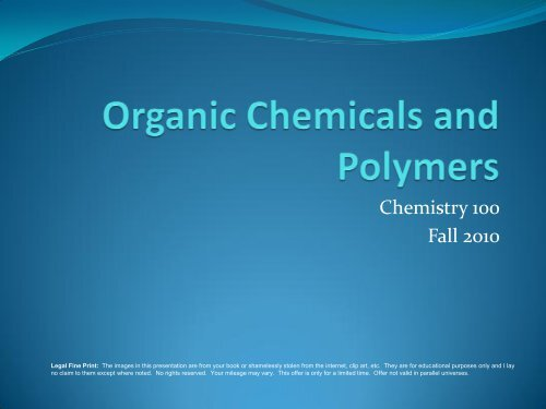Chemistry 100 Fall 2010