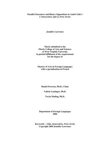 Parallel Structures and Binary Oppositions in André Gide's L ...